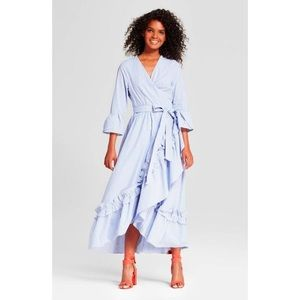 WHO WHAT WEAR - STRIPED RUFFLE BELL SLEEVE MAXI